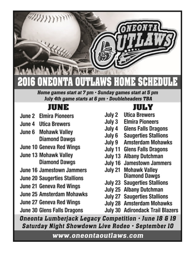 Outlaws2016Schedule