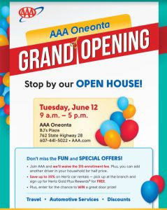 [Enews] AAA Oneonta Grand Opening - CANO Call for Artists & Writers - Otsego County Member News Update