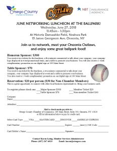 [Enews] Networking Luncheon Wed, June 27 with the Outlaws at Damaschke Field