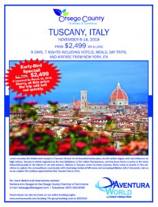 Travel with Otsego County Chamber to Tuscany, Italy!