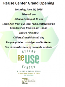 Saturday June 16, 2018 ReUse Center Grand Opening 10:00a.m.-2:00p.m