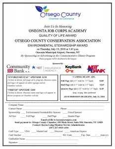 Friendly Reminder-Join Us at the Summer Soiree Celebrating Sustainable Success in Otsego County Thursday, July 19, 2018 at Oneonta Municipal Airport