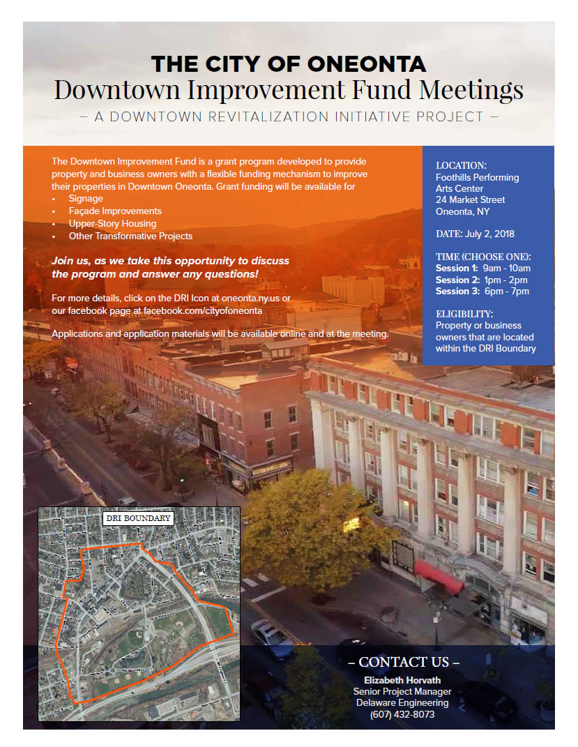 Reminder: Business Engagement Survey – Oneonta Downtown Improvement Fund Meetings