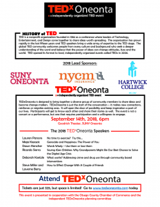 TED X Oneonta- This Friday, September 14, 2018 6:00p.m.