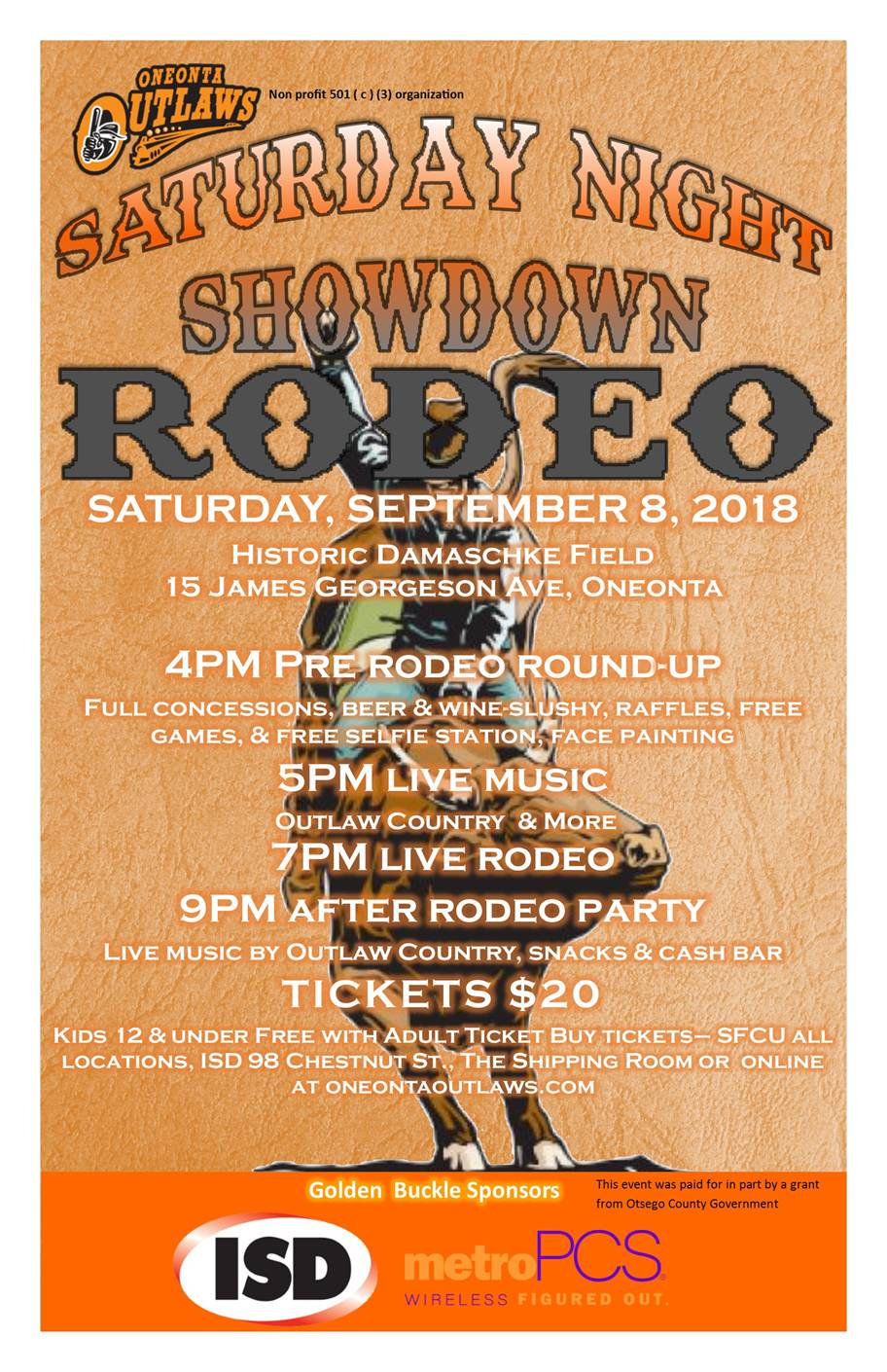 Oneonta Outlaws Saturday Night Rodeo and Chamber Weekly Update