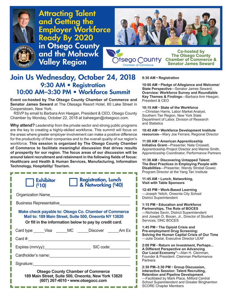 "Your Invited to Join Us at Our Inaugural Workforce Summit ""Attracting Talent and Getting the Employer Workforce Ready by 2020 in Otsego County and the Mohawk Valley Region"""