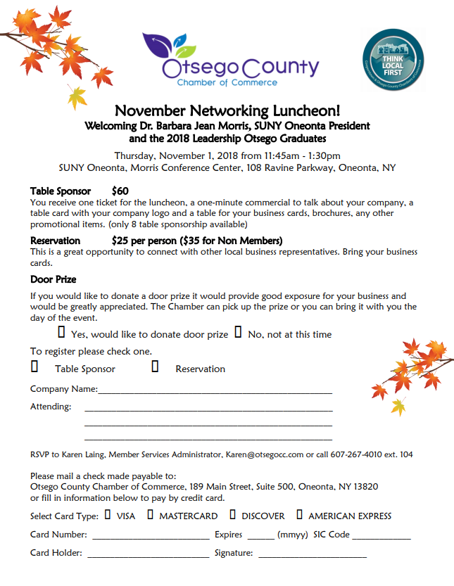 Networking Luncheon on November 1