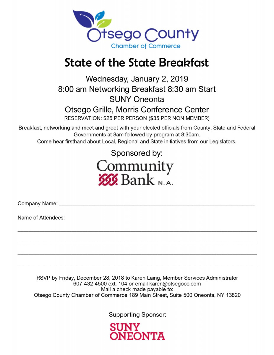 Join Us for the State of State Breakfast January 2, 2019 at SUNY Oneonta