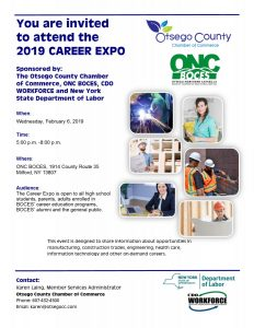Join us for the 8th Annual Career Expo and Job Fair Open House at ONC BOCES on Wednesday, February 6, 2019