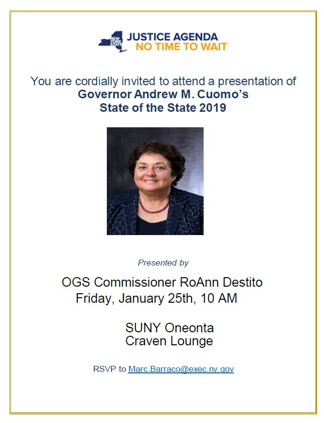 You Are Cordially Invited to attend a presentation of Governor Andrew M. Cuomo's State of State 2019