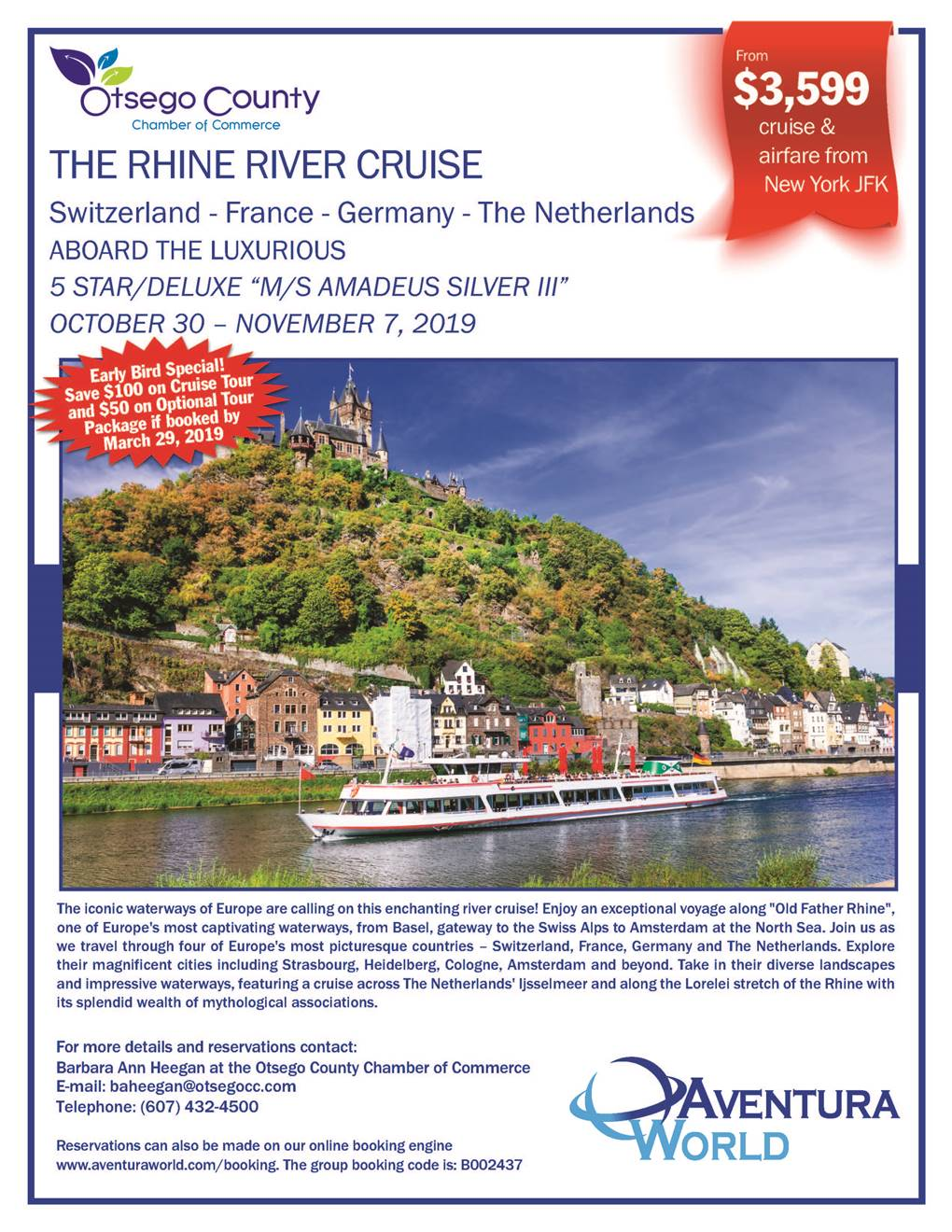 Join us today for a Webinar on the Chamber 2019 Rhine River Tour – Otsego County Chamber Weekly Update – Commercial Space Available contact Klugo Properties