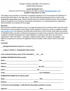 Fwd: [Enews] Otsego County Chamber Business Awards Nominations Now Being Accepted! SAVE THE DATE Thursday, May 2, 2019 at The Foothills Performing Arts and Civic Center