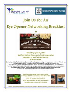 Join Us for an Eye Opener Networking Breakfast at the Richfield Springs Food Cooperative Thursday, April 18, 2018 at 8:30a.m.