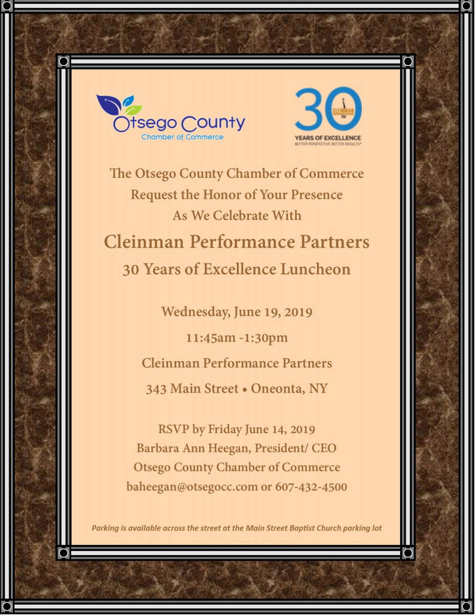 Fwd: [Enews] You are invited to Cleinman Performance Partners 30 Years of Excellence Luncheon Wednesday, June 19, 2019