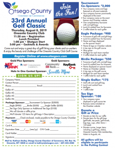 Join Us for the 33rd Otsego County Chamber Annual Golf Tournament, Thursday, August 8, 2019 at beautiful Oneonta Country Club