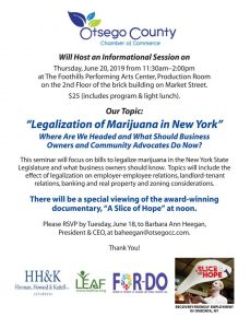 """Fwd: [Enews] Join Us for an Informational Session on """"Legalization of Marijuana in New York"""" Thursday, June 20, 2019 at Foothills Performing Arts Center"""