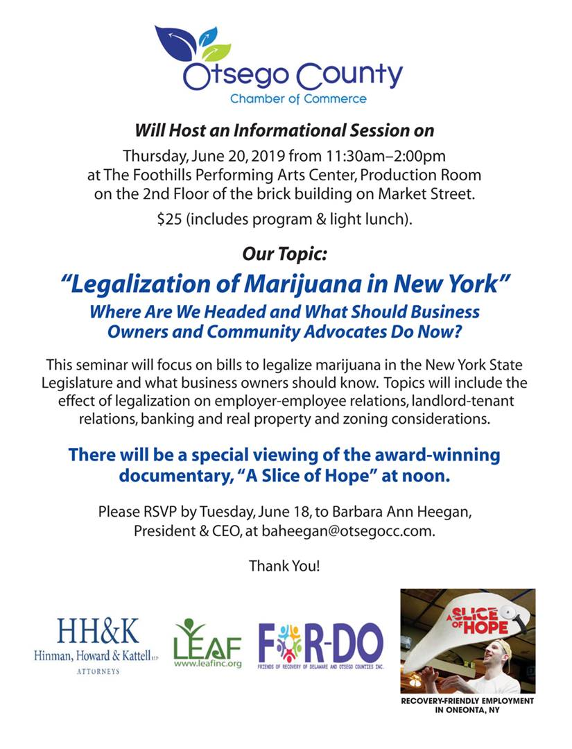 "Fwd: [Enews] Join Us for an Informational Session on ""Legalization of Marijuana in New York"" Thursday, June 20, 2019 at Foothills Performing Arts Center"