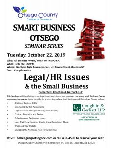 Fwd: [Enews] Otsego County Chamber to host Complimentary Legal/HR Issues & the Small Business Tuesday, October 22, 2019 1:00p.m. at Northern Eagle Beverages