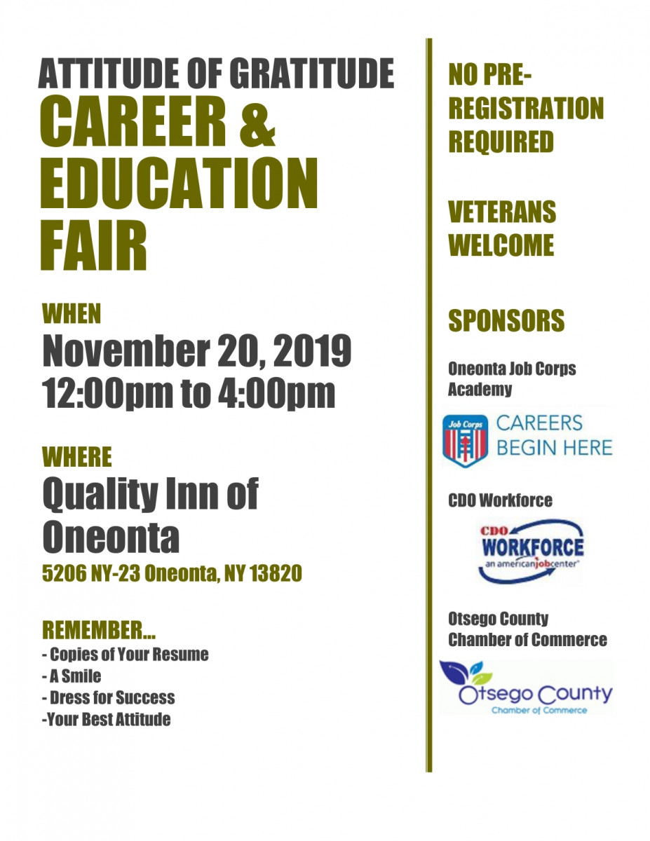 Attitude of Gratitude Career & Education Fair, Ignite the Fire of Entrepreneurial Spirit Dinner, Otsego Chamber Member News