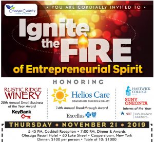 Fwd: [Enews] You are Cordially Invited to Ignite the Fire of Entrepreneurial Spirit: Otsego County Chamber 20th Annual Small Business and Breakthrough Award Dinner Celebration