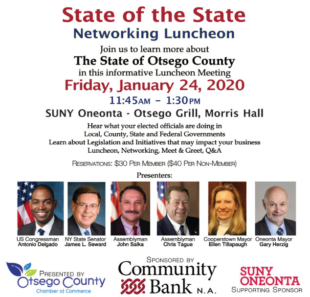 Fwd: [Enews] You are Invited to the 2020 State of the State Networking Luncheon Friday, January 24, 2020 at SUNY Oneonta