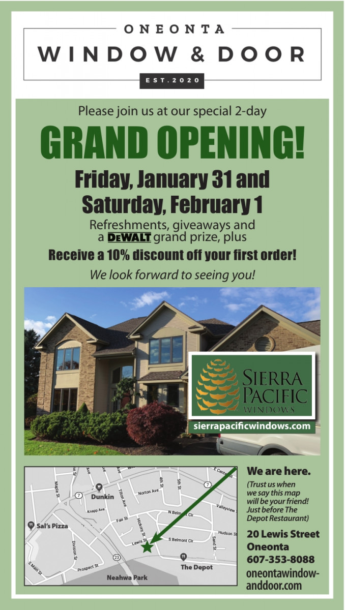 Fwd: [Enews] Join us this Friday for the Grand Opening and Ribbon Cutting of Oneonta Window & Door/Otsego County Chamber Weekly Update