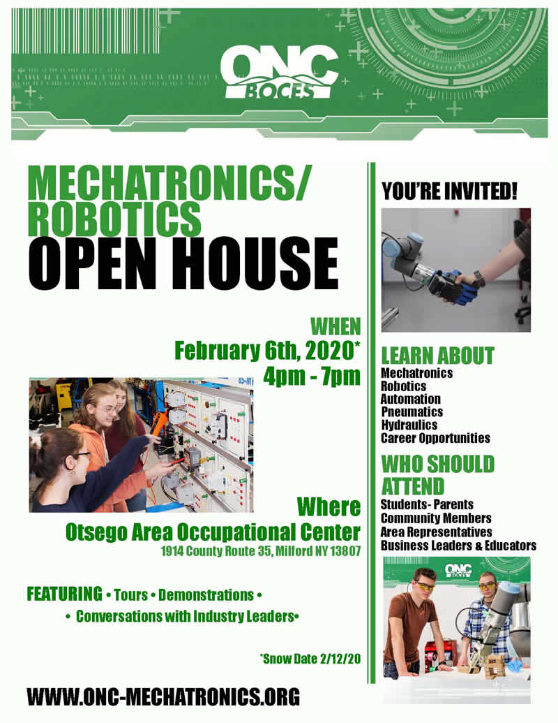 ONC BOCES Presents Mechatronics/Robotics Open House on Feb 6, 2020