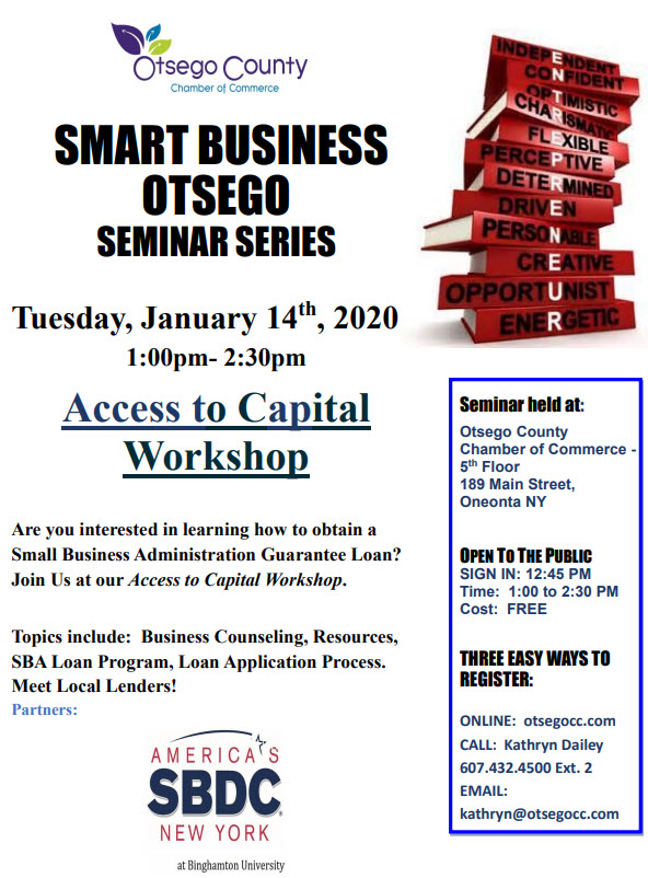 Fwd: [Enews] In the Week Ahead: Join us for Access to Capital Workshop Tuesday January 14, 2020 and Labor Law Update on January 16, 2020-Otsego County Chamber Weekly Update
