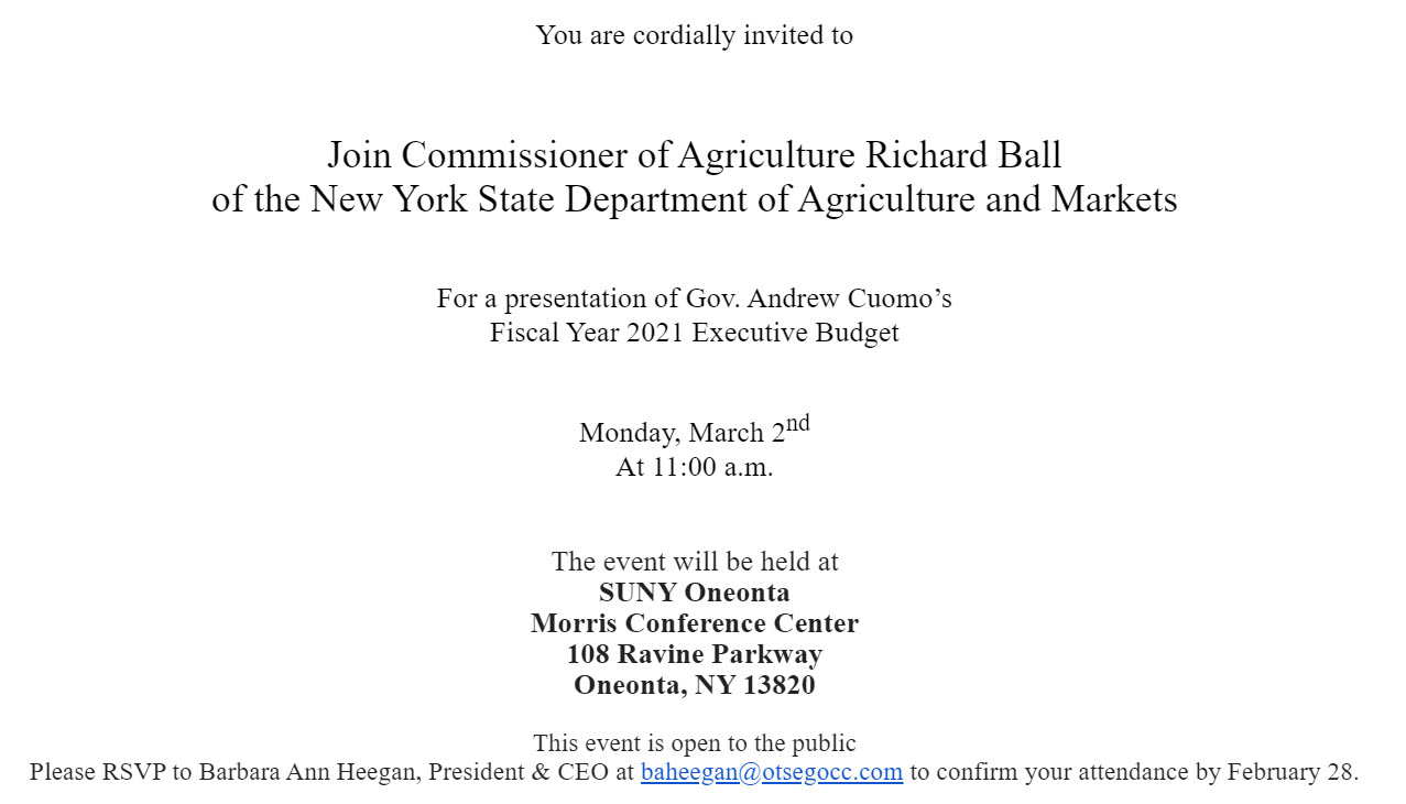 You are Cordially Invited to a presentation on Governor Andrew Cuomo's Fiscal Year 2021 Executive Budget