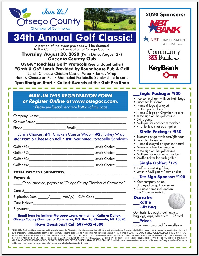 34th Annual Chamber Classic Golf Tournament is on!  8/20/2020- Get your foursome ready today!