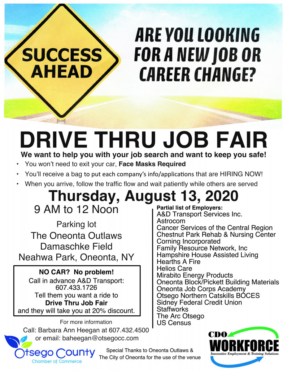 First Ever Drive Thru Job Fair on Thursday 8/13  9- 12 noon