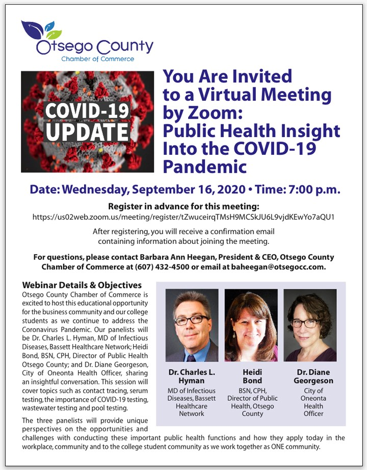 Join the Virtual Meeting Public Health Insight into Covid 19- Wednesday 9/16 at 7:00pm