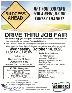 Drive Thru Job Fair- this Wednesday Oct. 14th from 11am-1pm, Neahwa Park, Oneonta JOIN US