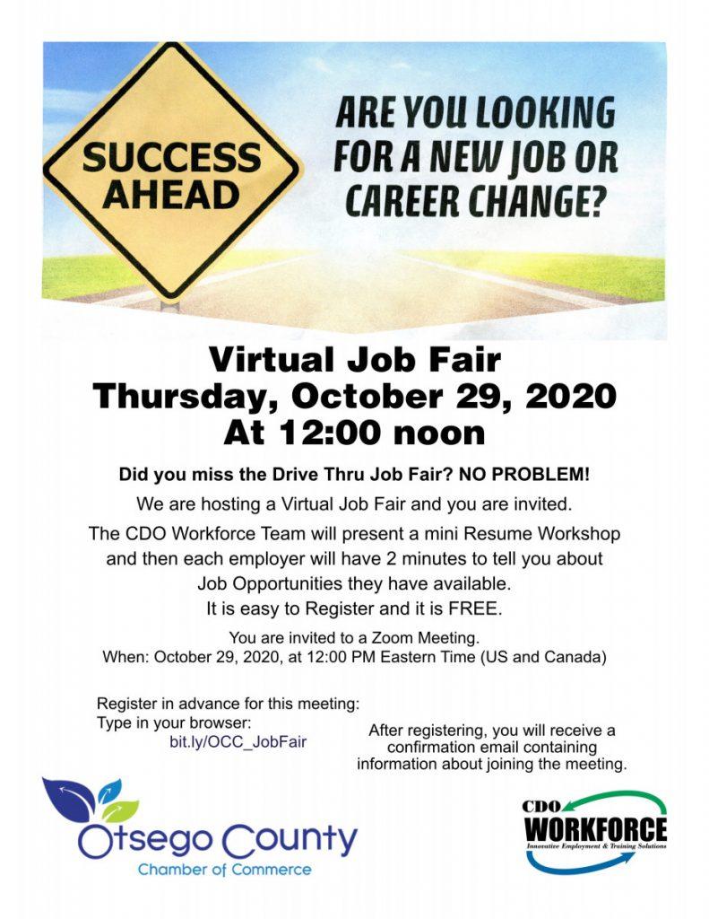 VIRTUAL JOB FAIR! Thursday, October  29th at 12:00 NOON-
