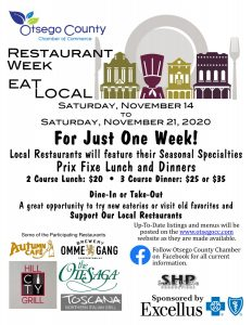 Eat Local Restaurant Week-Starting Saturday November 14 and running through Saturday Nov. 21, Special Prices on Special Meals!