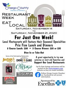 Eat Local RESTAURANT WEEK November 14- 21, 2020.  For Just One Week Restaurants will feature their Seasonal Specialties at a Special Price