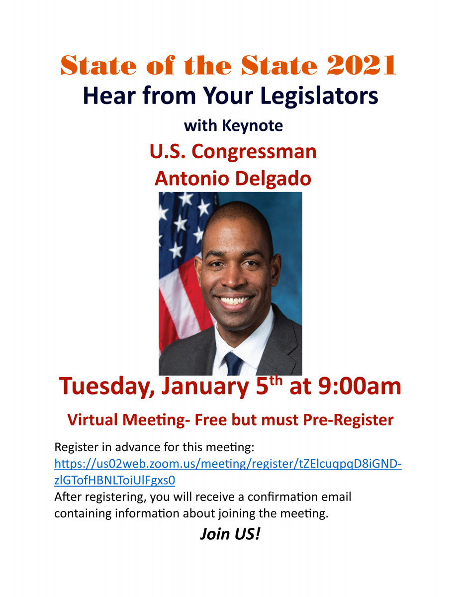 New Interim President Message, State of The State on Tuesday January 5th with Congressman Delgado, Virtual and Free