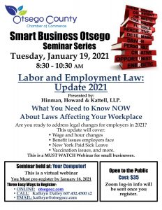 2021 Smart Business Seminar Series Begins!  Join us to learn Updates on Labor and Employment Laws Affecting Your Business