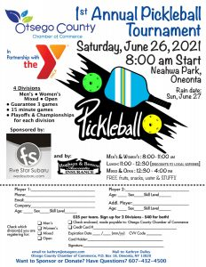 Pickleball Tournament!  Join us June 26th- Help us make this a great first tournament.