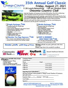 SIGN UP NOW!  The Chamber's 35th Annual Golf Classic Aug. 27th, 2021 at the beautiful Oneonta Country Club!