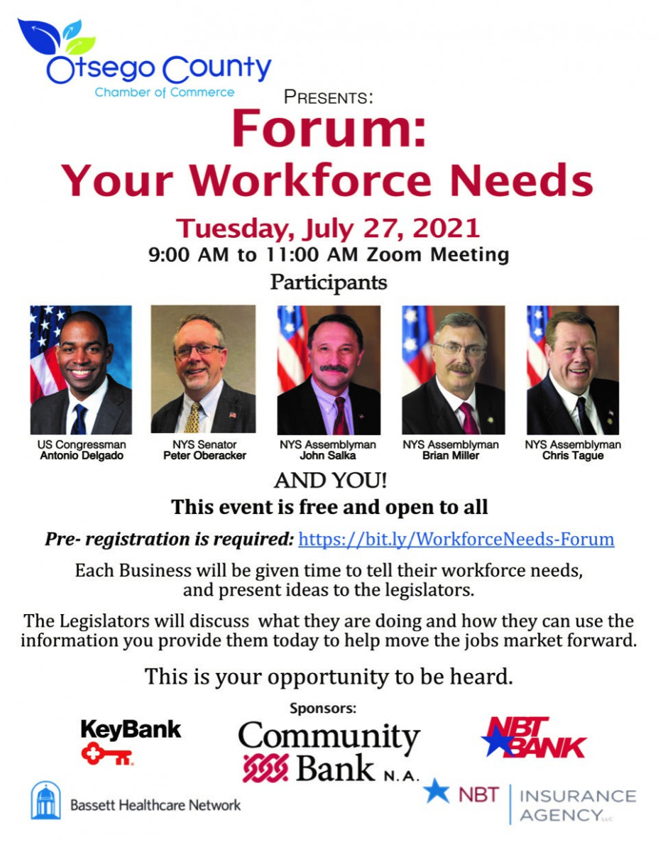 Forum: YOUR Workforce Needs- Tuesday July 27 from 9-11am via zoom- sign up today